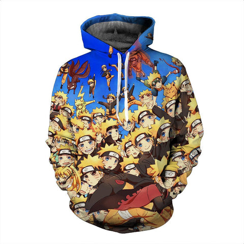 Multiple Shadow Clone Technique Kinjutsu Cute Naruto Blue 3D Hoodie - Konoha Stuff