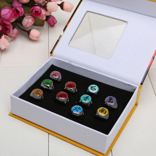 Naruto Akatsuki Members Metal Rings 10pcs Set - Konoha Stuff