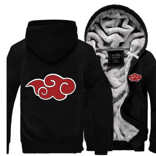 Naruto Akatsuki Red Clouds Symbol Of Justice All Black Hooded Jacket - Konoha Stuff