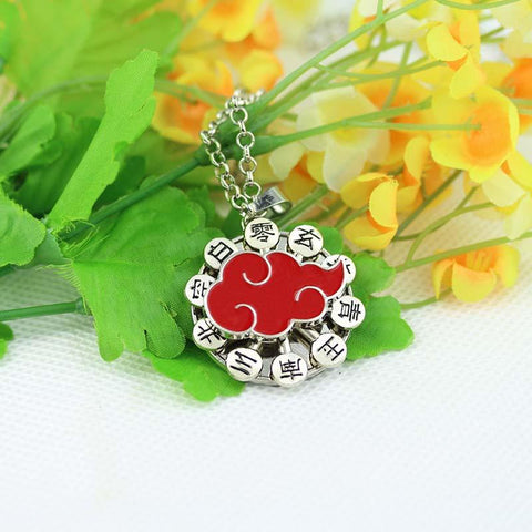Naruto Anime Akatsuki Red Cloud Symbol Pendant Rolo Chain Necklace
