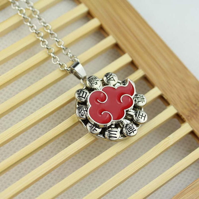Naruto Anime Akatsuki Red Cloud Symbol Pendant Rolo Chain Necklace - Konoha Stuff