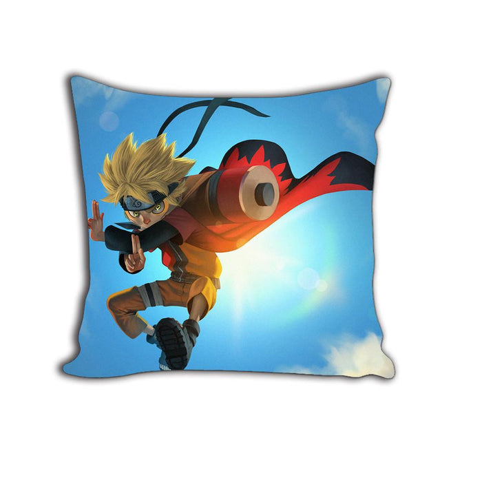 Naruto Anime Jutsu Artwork Flying Sky Blue Decorative Throw Pillow