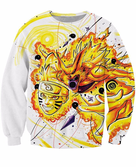 Naruto Anime Kyuubi Mode Graffiti Art Painting Dope 3D Sweatshirt - Konoha Stuff
