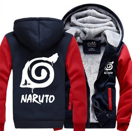 Naruto Cool Hidden Leaf Village Symbol Red Navy Hooded Jacket - Konoha Stuff