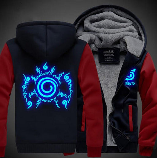 Naruto Cool Top Cursed Seal Blue Luminous Red Navy Hooded Jacket - Konoha Stuff