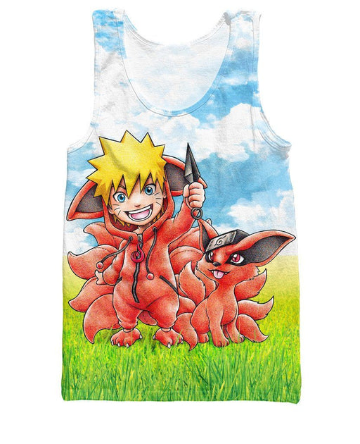 Naruto Kurama Kyuubi Nine Tails Fox 3D Cute Tank Top - Konoha Stuff