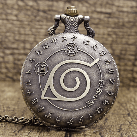 Naruto Leaf Village Konoha Symbol Kanji Retro Pocket Vintage Watch