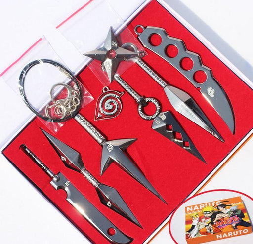 Naruto Ninja Kunai Dagger Weapons Shuriken Cosplay Set 7pcs - Konoha Stuff