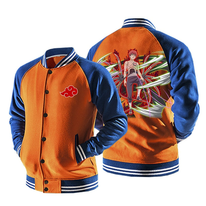 Naruto Puppet Sasori Of The Red Sand Orange Baseball Jacket