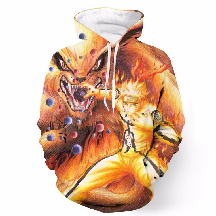 Naruto Sage Form Kyuubi Nine Tails Fox Colorful Anime Hoodie - Konoha Stuff