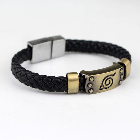 Naruto Shinobi Ninja Hidden Village Konoha Symbol Leather Bracelet Wristband - Konoha Stuff