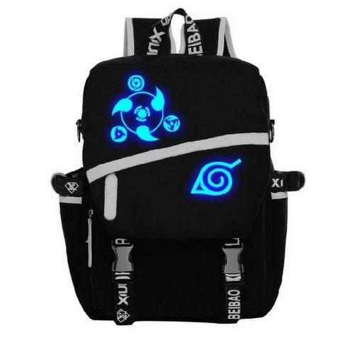 Naruto Uchiha Sasuke Luminous Sharingan Eyes Pattern Cool Backpack - Konoha Stuff - 1