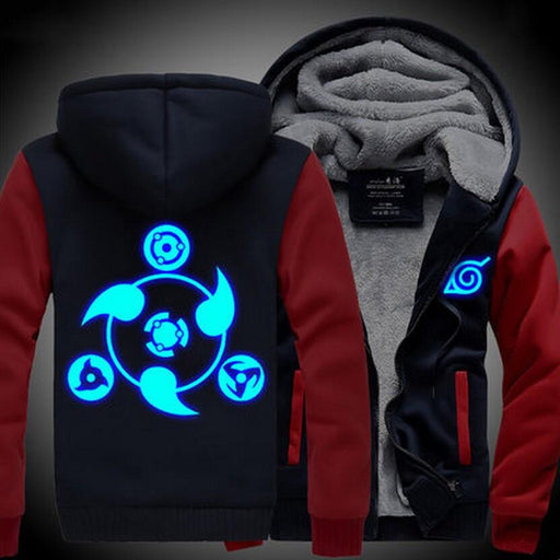 Naruto Uchiha Sharingan Luminous Copy Wheel Eye Red Navy Hooded Jacket - Konoha Stuff