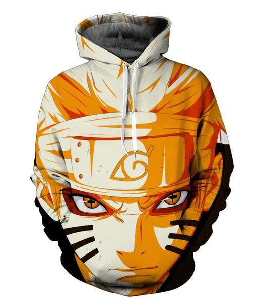 Naruto Uzumaki Face Red Eyes Sharingan 3D Cool Anime Hoodie - Konoha Stuff