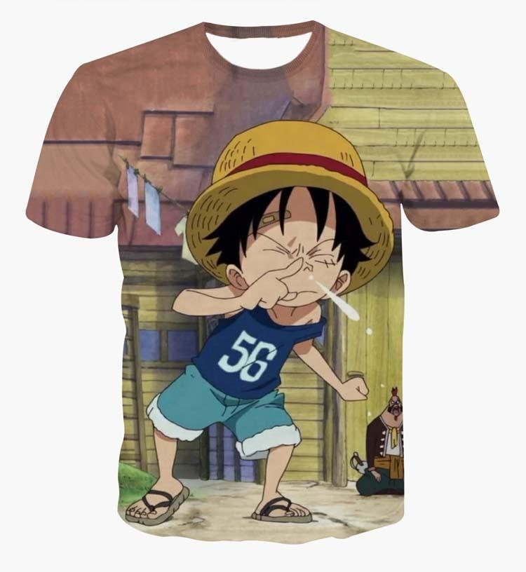 Naughty Funny Cute Kid Luffy Snivel One Piece Green 3D Tshirt - Konoha Stuff