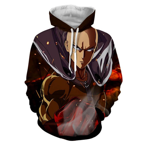 One-Punch Man Angry Saitama Portrait Dope Style Print Hoodie