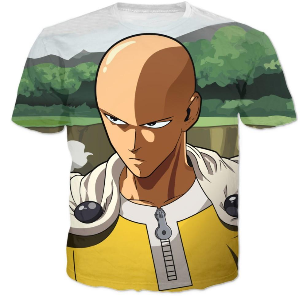 One-Punch Man Anime Saitama Nature Tree Green 3D Graphic T-Shirt - Konoha Stuff