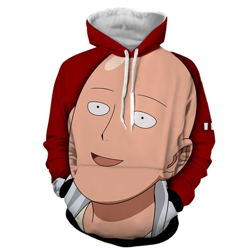One-Punch Man Funny Saitama Hilarious Cartoon Face Red Hoodie