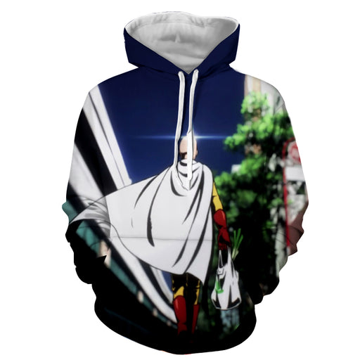 One-Punch Man Hilarious Saitama Shiny Head Bald Cape Hoodie