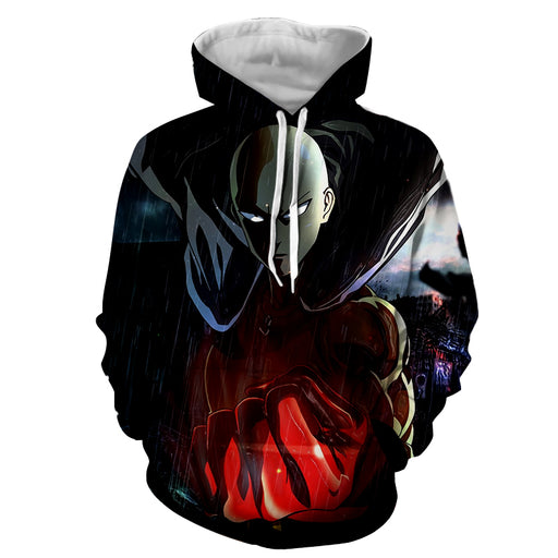 One-Punch Man Mighty Saitama Raining Lightning Black Hoodie