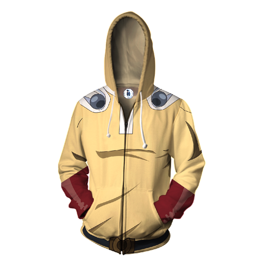 One-Punch Man Powerful Saitama Yellow Cosplay Zip Up Hoodie