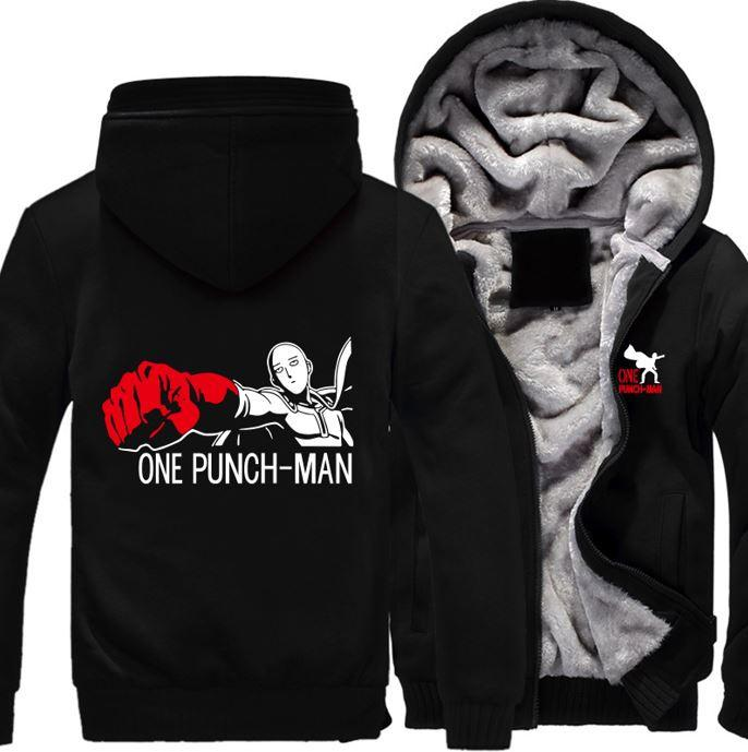 One-Punch Man Saitama Anime Character All Black Zipper Hooded Jacket - Konoha Stuff