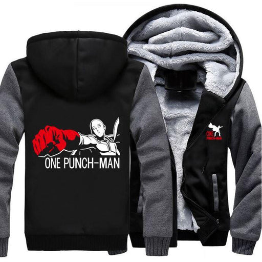 One-Punch Man Saitama Anime Character Gray Black Zipper Hooded Jacket - Konoha Stuff