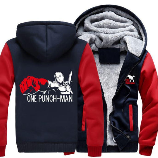 One-Punch Man Saitama Anime Character Red Navy Zipper Hooded Jacket - Konoha Stuff