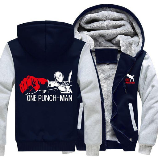 One-Punch Man Saitama Anime Character White Navy Zipper Hooded Jacket - Konoha Stuff