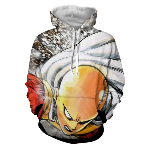 One-Punch Man Saitama Blank Sharp Eyes Powerful Punch Hoodie