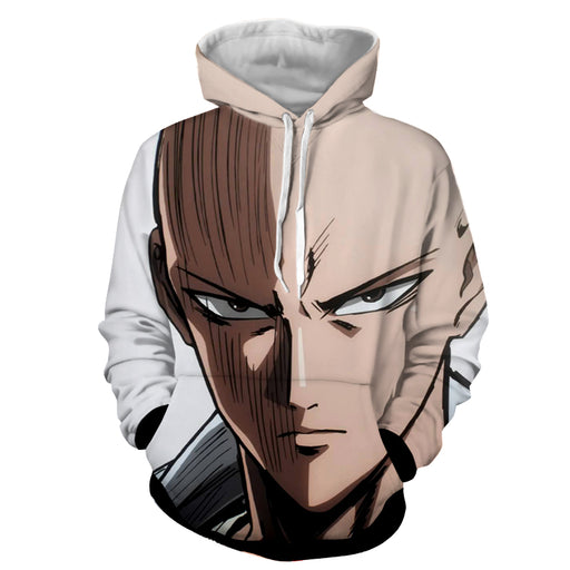 One-Punch Man Saitama Caped Baldy Scary Sharp Eyes Hoodie
