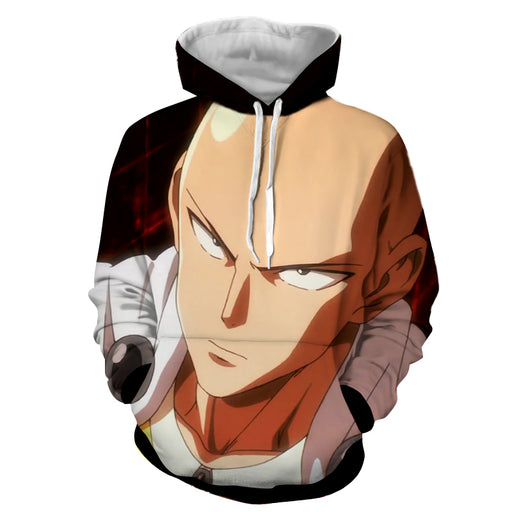One-Punch Man Saitama Caped Baldy Sharp Eyes Black Hoodie