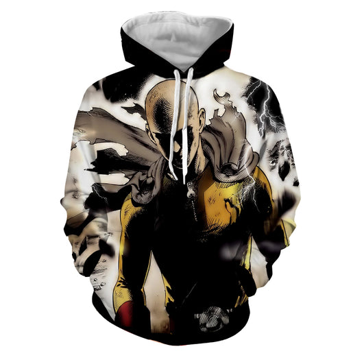 One-Punch Man Saitama Intense Battle Damaged Uniform Hoodie