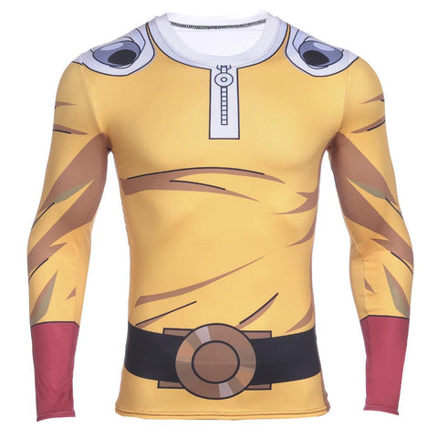 One-Punch Man Saitama Jumpsuit Long Sleeves Gear Compression 3D Shirt