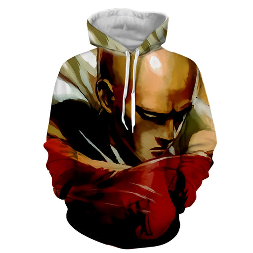 One-Punch Man Scary Bald Saitama Deadly Serious Punch Hoodie