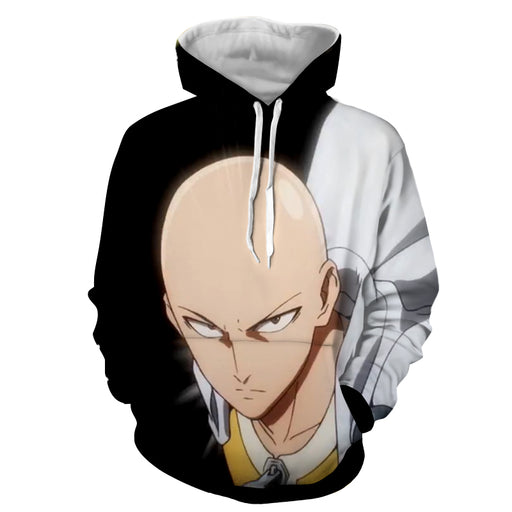 One-Punch Man Serious Saitama Bald Superhero Black Hoodie