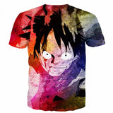 One Piece Angry Monkey D. Luffy Tie-dye Colorful 3D Cool T-Shirt - Konoha Stuff