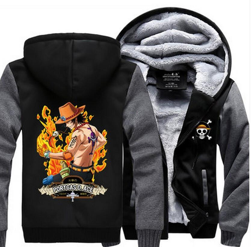 One Piece Anime Portgas D. Ace Fire Stylish Gray Hooded Vest Jacket - Konoha Stuff