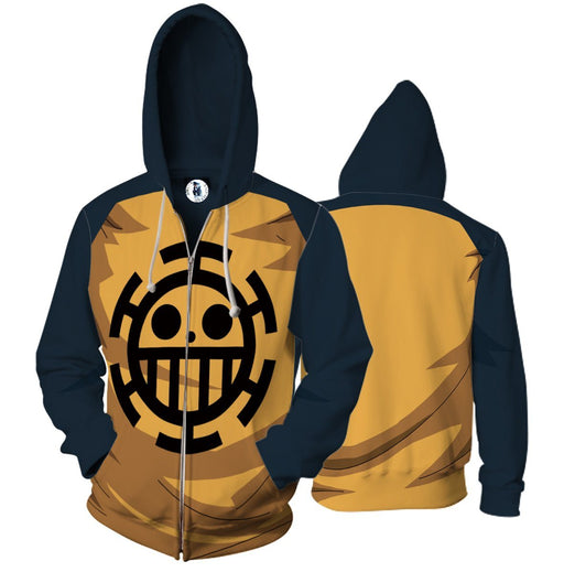 One Piece Anime Trafalgar D Law 3D Cosplay Zip Up Hoodie