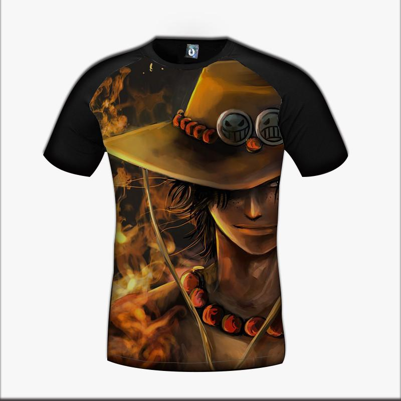One Piece D Ace Pirate Hero Brother Cowboy Hat Fire Power Cool Design T-Shirt