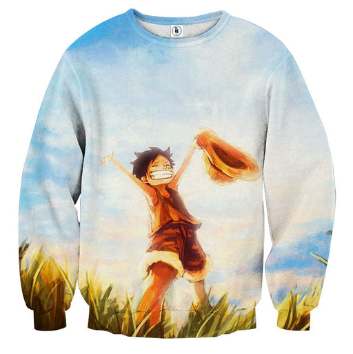 One Piece Happy Young Monkey D. Luffy Sunset Scenery Sweatshirt