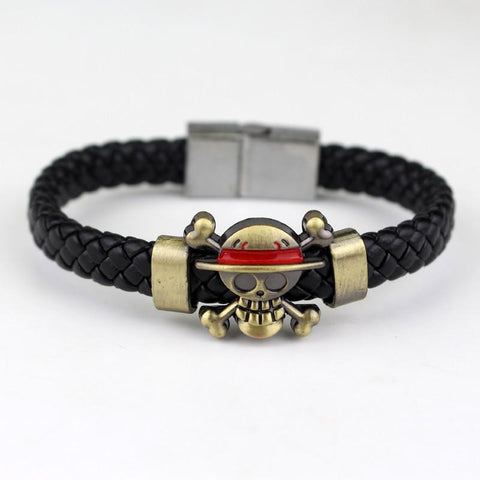 One Piece Manga Skull Straw Hat Pirate Crew Symbol Leather Bracelet Wristband - Konoha Stuff