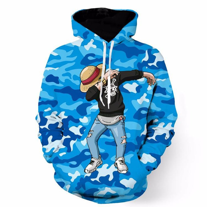 One Piece Monkey D.Luffy Camo Camouflage Dab Dance Blue Hoodie - Konoha Stuff - 1