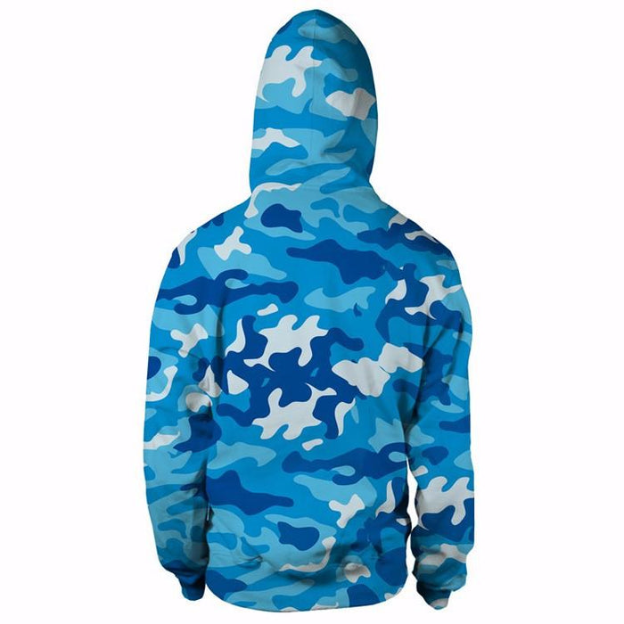 One Piece Monkey D.Luffy Camo Camouflage Dab Dance Blue Hoodie - Konoha Stuff - 2