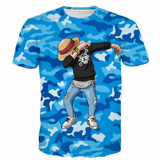 One Piece Monkey D.Luffy Camo Camouflage Dab Dance Blue T-shirt - Konoha Stuff - 1