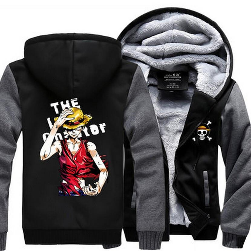 One Piece Monkey D. Luffy Straw Hat Cool Gray Black Hooded Jacket - Konoha Stuff