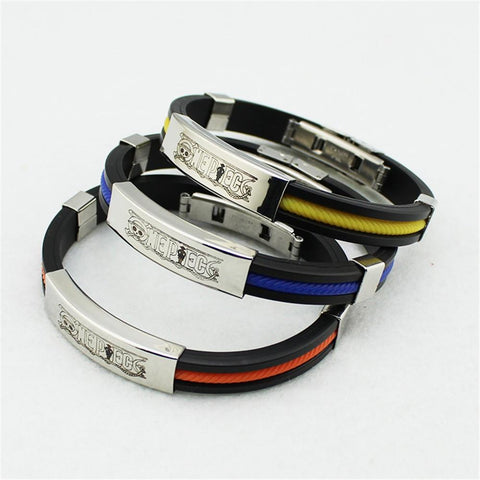 One Piece Pirate Manga Kanji Title Sport Style Steel Bracelet Wristband - Konoha Stuff - 1