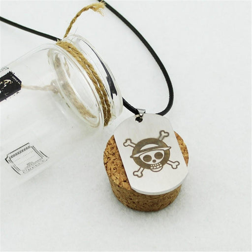 One Piece Pirate Monkey D.Luffy Skull Logo Titanium Pendant Necklace - Konoha Stuff - 1