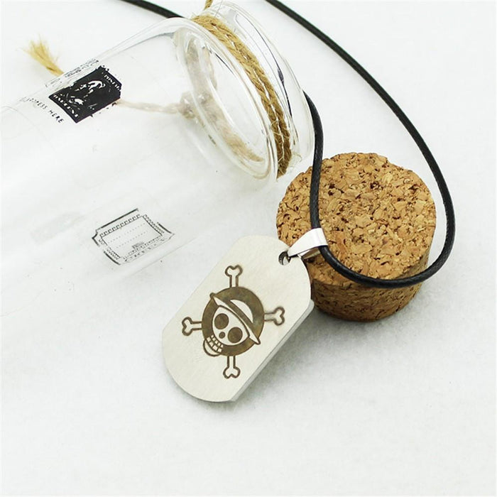 One Piece Pirate Monkey D.Luffy Skull Logo Titanium Pendant Necklace - Konoha Stuff - 3