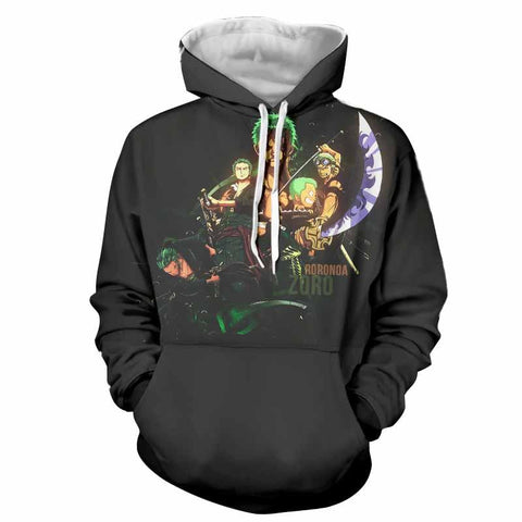 One Piece Roronoa Zoro Kid Grown Up Swordman Black Concept Hoodie
